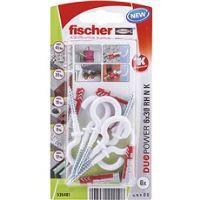 fischer DUOPOWER 6 x 30 univerzální hmoždinka + bílý hák